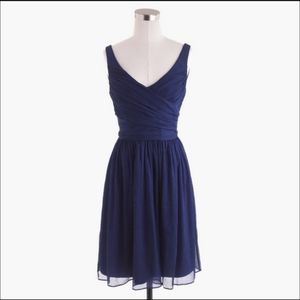 NWT Silk Chiffon J. Crew Navy Heidi Dress